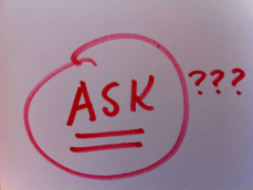 "Photo of the word ""Ask"" underlined and circled."
